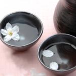 Sakura petals in Sake